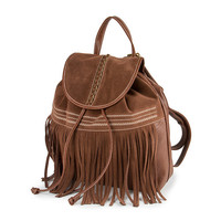 Brown Faux Leather Backpack with Faux Suede Fringe