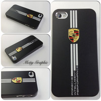 Custom iPhone 4 / 4S  Case PORSCHE Series Sport Car Carbon Aluminum metallic Cover  - Black