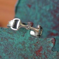 Snaffle Bit Horse Ring 925 Sterling Silver Sizes 4 by nongbuadang