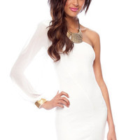 One Shoulder Chiffon Dress in White :: tobi