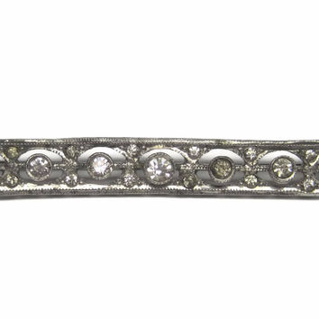 Vintage Sterling Paste Diamond Filigree Bar Brooch