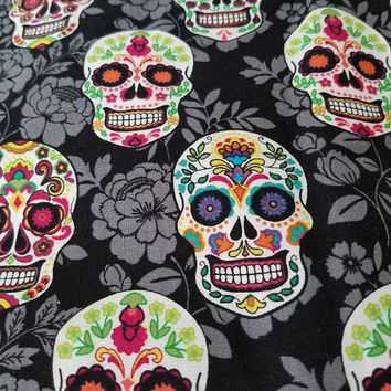 Sugar - Skull - floral - day - of - the - dead - style -  quilting - cotton  - fabric