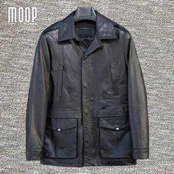 Retro black genuine leather jackets coats men 100% goatskin casual motorcycle jacket coat veste cuir homm pockets decor LT1301