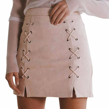 Toni Lace Up Suede Slit Skirt