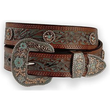 Nocona Women's Floral Embossed Round Conchos Belt