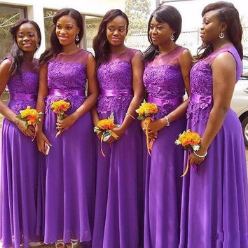 Purple Cap Sleeve Long Wedding Party Gowns Lace A Line African Bridesmaid Dress 2016 New Maid of Honour Dress Floor Length Bride