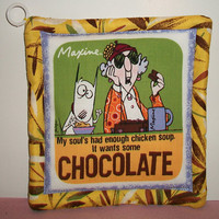Yellow Aunty Acid Pot Holder Trivit Quilted Cooking Baking Kitchen Decor My Soul Has Had Enough Chicken Soup