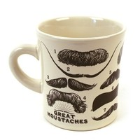 Moustaches Coffee Mug - History's Best Moustaches, From Albert Einstein to Charlie Chaplin - Comes in a Fun Gift Box - by The Unemployed Philosophers Guild