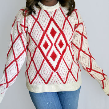 80s Cream and White Sweater with Diamond Pattern
