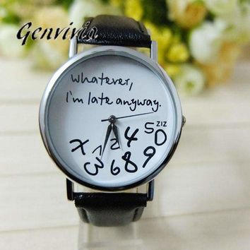 Genvivia Women Leather Watch - Whatever I am Late Anyway