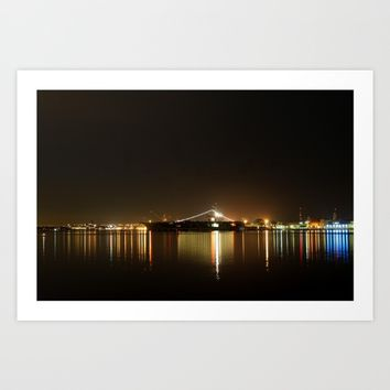 San Diego Skyline Night Art Print by Henrik Lehnerer