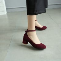Round Toe Flock Ankle Strap Women Chunky Heel Pumps 4982