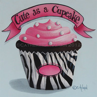 Cupcake Print Cute as a Cupcake Personalized by catherineholman