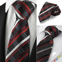 Checked Red Black Mens Tie Formal Suits Necktie Wedding Holiday Gift KT1075
