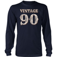 Men's Vintage 90 Long Sleeve Tshirt 28th Birthday Gift for 28 Year Old