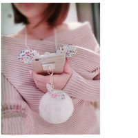 3D Diamond Rabbit ear Fur ball Bow Pompom Tassel Keychain Phone strap Case for Samsung Galaxy Grand G530 A5 A7 J5 J7 2016
