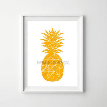 Modern Pineapple Print, Pineapple Illustration, Modern Art, Geometric Artwork, Printable Poster, Pineapple Poster, Modern Wall Art, Gold Art