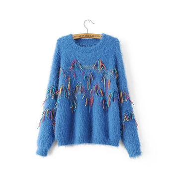 Women's Casual Colorful Tassel Knitted Pullover Sweater Jumper