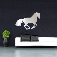 Home Art Decals DIY Acrylic Mirror Running Horse Wall Stickers Bedroom Living Room Home Decor