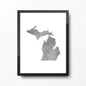Michigan state art print - Watercolor Style - Gray
