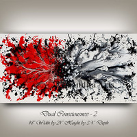 Abstract Modern Splash Art, 48 inch Red and White, Original Art on Canvas, Wall Decor, Home Decor, Contemporary Art by Nandita Albright