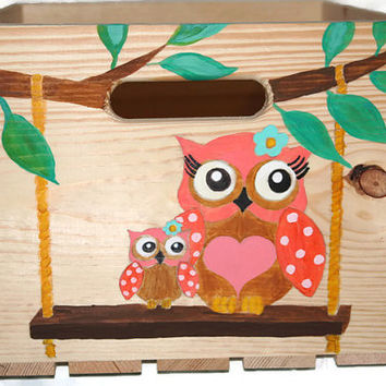 Painted Crate - Hand Painted - Nursery Decor - Nursery Storage - Diaper Crate - Made to Order - Select colors - Customize - Handmade