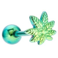 Anodized Green Anodized Steel Marijuana Leaf Tongue Ring Barbell