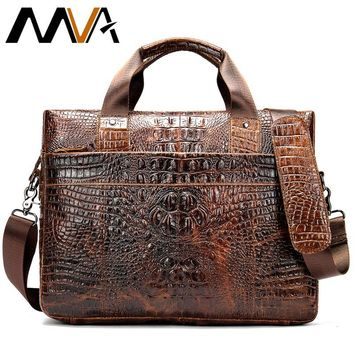 Men's Briefcase Crocodile Pattern Cowhide Leather Briefcases Mens Male Shoulder Bag Commercial Business Office Bags for Men 555