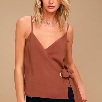 J.O.A. Reine Washed Burgundy Wrap Top