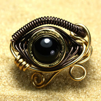 Egyptian Wire Ring - Eye of Horus - Black Onyx