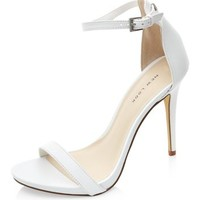 White Leather Ankle Strap Heels