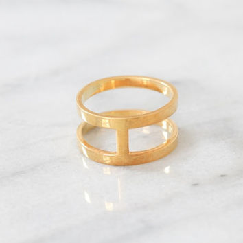 Cage Ring, Sterling Silver Cage Ring, Double Bar Ring, Reversible Gold Ring, Geometric Bar Ring, Minimalist Ring, Gold H Ring, Stacking Ring