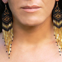 Gold and Black Earrings - Native American Style Shoulder Dusters. Very Long Fringe Earrings.