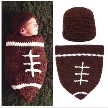 """""""1 Set Infant Baby Handmade Wool Knit Crochet Football Rugby Sleeping Bags Pattern Hat Cap Photography Photo Prop """" [7943116807]"""