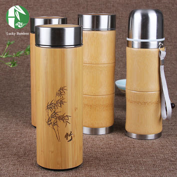 Bamboo thermal coffee travel mug