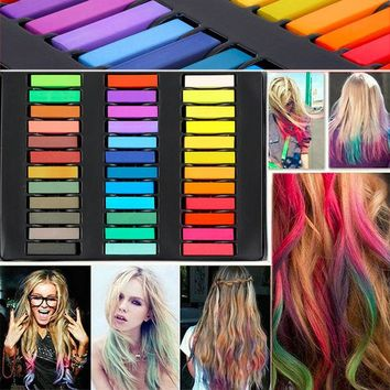 DCCKL72 36 Colors Hair Dye Easy Temporary Colors Non-toxic Hair Chalk Soft Pastels Kit Hair Color Crayons for Hair