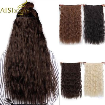 """AISI BEAUTY  Long Clips in Hair Extension Synthetic Natural Hair Water Wave Blonde Black 22"""" 55 cm For Women Heat Resistant"""