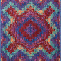 "Isabelle Red / Teal 3'0"" X 3'0"" Round Rug"