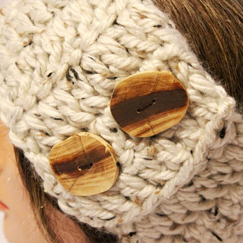 Crochet Headband Hairwrap with buttons- Head band Earwarmer - Headwarmer - Handmade Reclaimed Wood buttons
