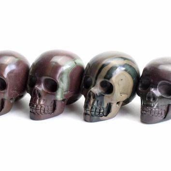 Skull Skulls Halloween Fall 1.9 INCHES Natural Tumbled Stone Carved Crystal Reiki Healing Realistic  Model Feng Shui Statue with a  Pouch Calavera