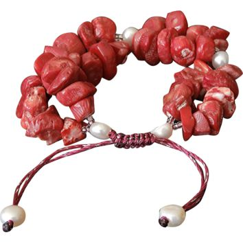 Sea Bamboo Corals and cultured White Freshwater Pearl Bracelet