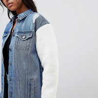Noisy May Longline Denim Jacket with Teddy Sleeves at asos.com