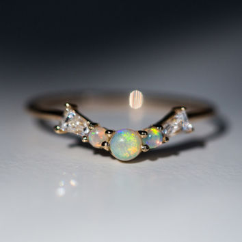 Constellation Ring, Opal & Diamond - Hortense - Catbird