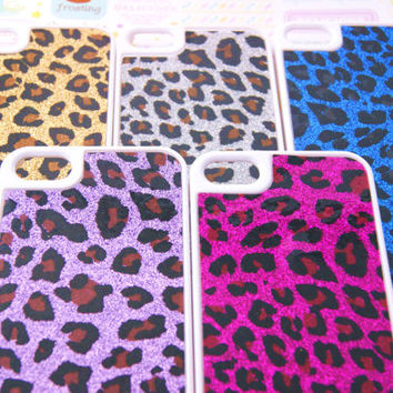 Glitter Leopard Cheetah Print Iphone 5 Cell Phone Case
