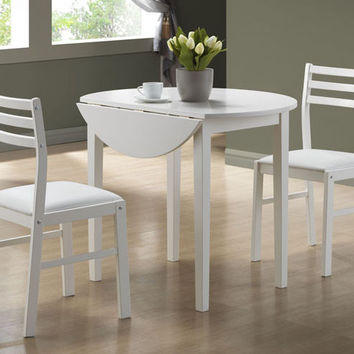 "White 3Pcs Dining Set With A 36""Dia Drop Leaf Table"