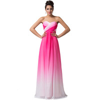 Vestido de festa Design A Line Green Red Blue Ombre Evening Gowns Chiffon Formal Evening Dresses Long Elegant Prom Formal Dress