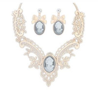 New Vintage Look Cameo with Rhinestone Jewelry Sets -  Necklace and Earring Set