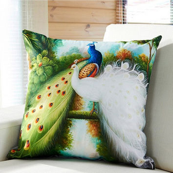 RUBIHOME printing digital 3D peacock cushion without inner animal design for sofa throw pillow home decorative de almofada funda