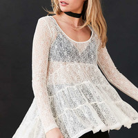 Ecote Lace Tiered Trapeze Top - Urban Outfitters