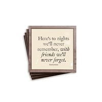 Here's To Nights Copper & Glass Coasters, Set of 4